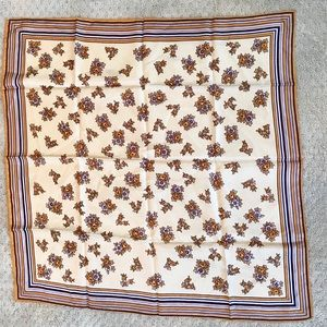 Vintage Glentex Scarf Gold Tan & Brown Floral